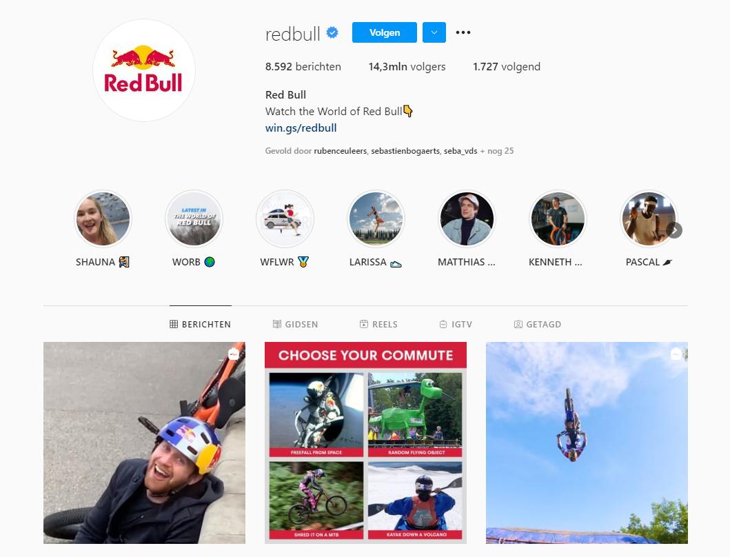 Red Bull foto's merkidentiteit